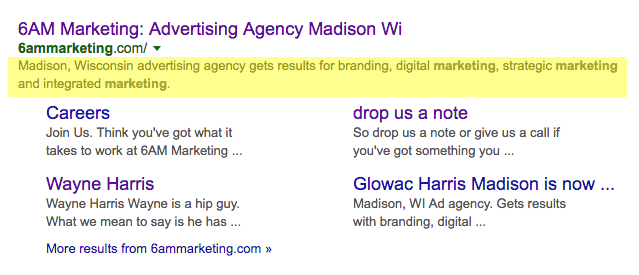 Search engine result highlighting the meta descriptions